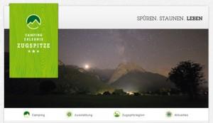 """Webseite des Campingplatzes """"Camping-Erlebnis Zugspitze""""."""