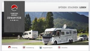 Webseite des Campingplatzes Camping-Resort Zugspitze.