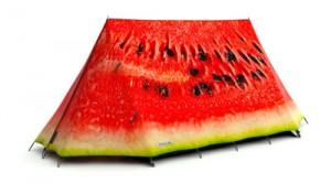 Zelt, das wie eine aufgeschnittene Melone aussieht, von fieldcandy.