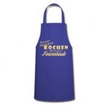 Blaue Schürze mit Motiv: Porzer Mädchen kochen gerne mit Feenstaub.