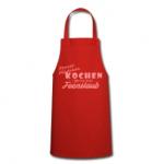 Rote Schürze mit Motiv: Porzer Mädchen kochen gerne mit Feenstaub.