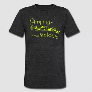 """Dunkelgrau meliertes T-Shirt mit der Bedruckung """"Camping - wie eine Sinfonie"""" und Notenlinien, auf denen Noten, ein Zelt und ein Wohnwagen zu sehen sind."""