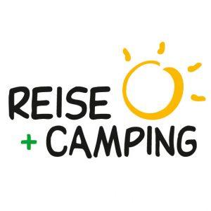 Logo bestehend aus den beiden Worten Reise und Camping mit einer stilisierten Sonne.